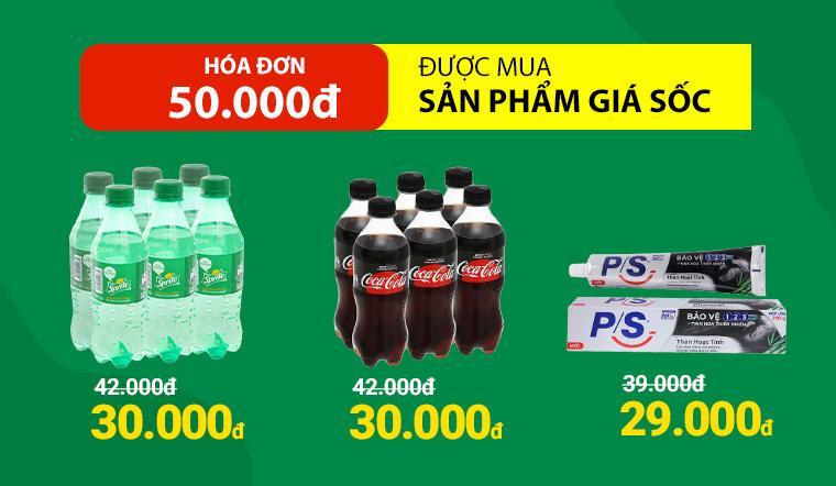 Từ ngày 26/02 - 28/02, với hóa đơn từ 50.000đ được mua nhiều sản phẩm giá SỐC