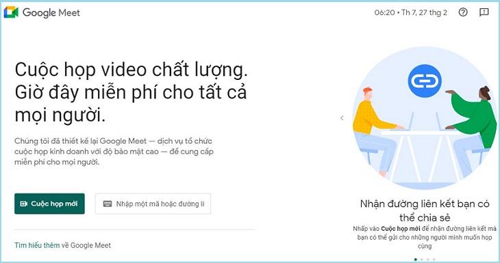 Truy cập vào trang Google Meet