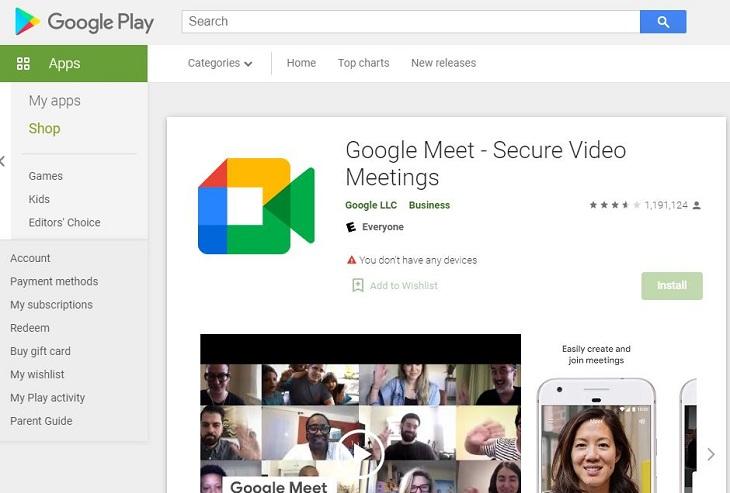 Truy cập trang tải Google Meet