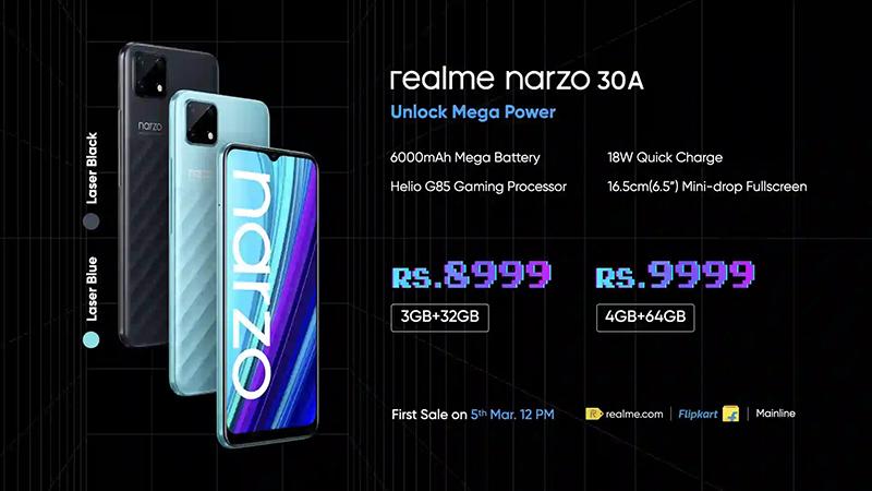 Realme Narzo 30A có giá bán rẻ so với những gì máy được trang bị