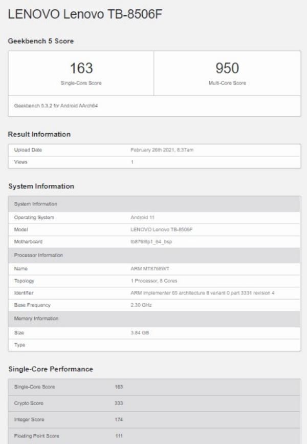 Lenovo Tab M8 (TB-8506F) lộ cấu hình và điểm hiệu năng trên Geekbench