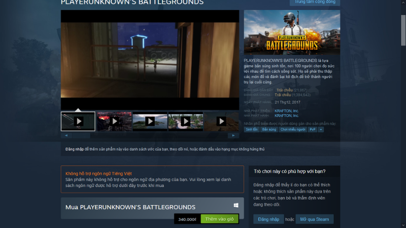 PUBG's selling price is on the Steam platform, a game shopping platform trusted by many gamers.