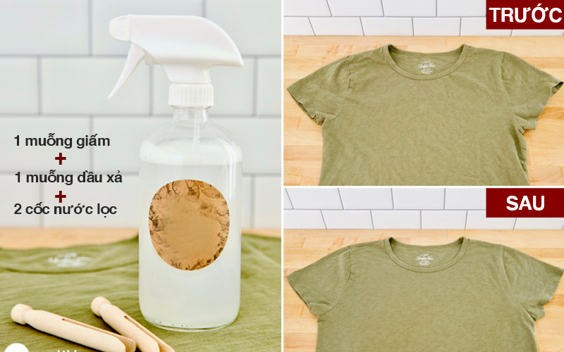 Dung dịch giấm và dầu xả làm phẳng quần áo không cần ủi