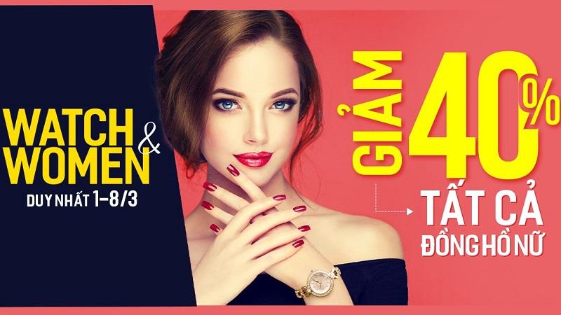 Chị em phụ nữ đâu rồi! Mừng 8/3 Thế Giới Di Động đồng loạt giảm sốc 40% đồng hồ đeo tay siêu đẹp siêu xinh nè