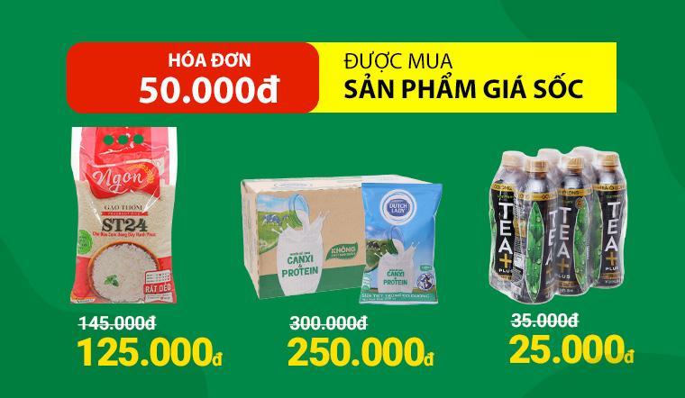 Từ ngày 01/03 - 04/03, hóa đơn 50.000đ được mua thêm nhiều sản phẩm giá sốc