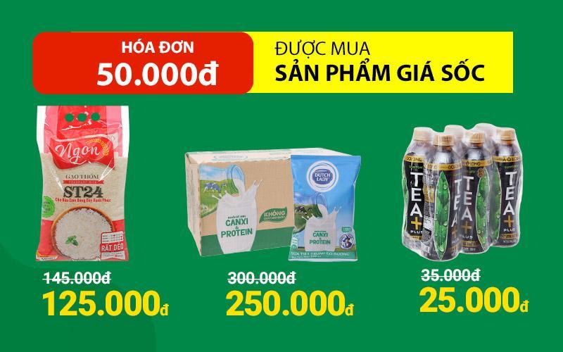 Từ 01/03 - 04/03, hóa đơn 50k được mua thêm nhiều sản phẩm giá sốc
