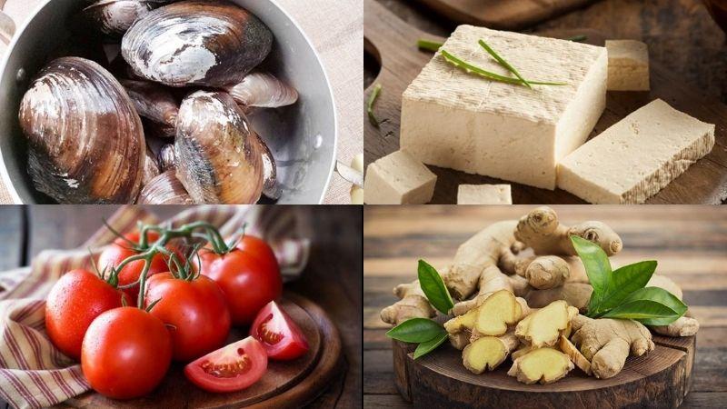 Nguyên liệu chế biến món canh trai nấu đậu hũ