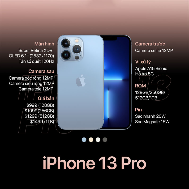 Cấu hình được nâng cấp vượt trội của iPhone 13 Pro