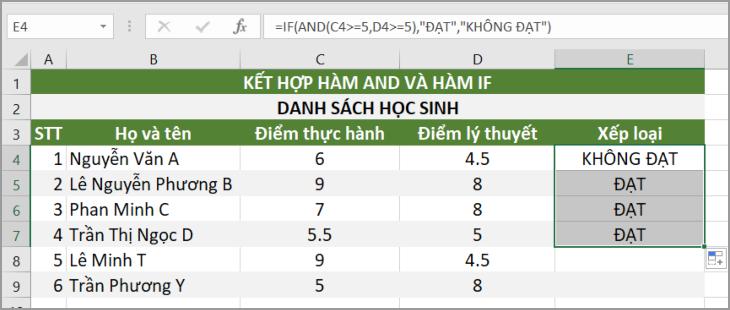 Ví dụ hàm AND kết hợp hàm IF trong Excel