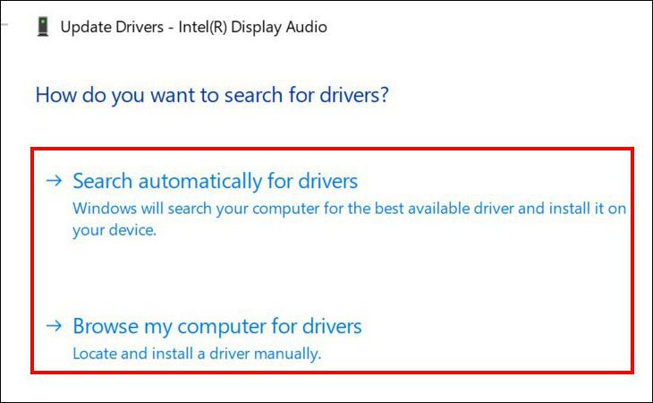 Hộp thoại update drivers
