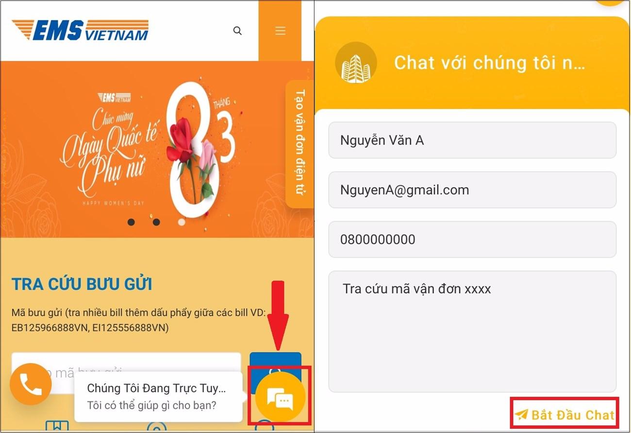Tra cứu EMS bằng tính năng nhắn tin LiveChat