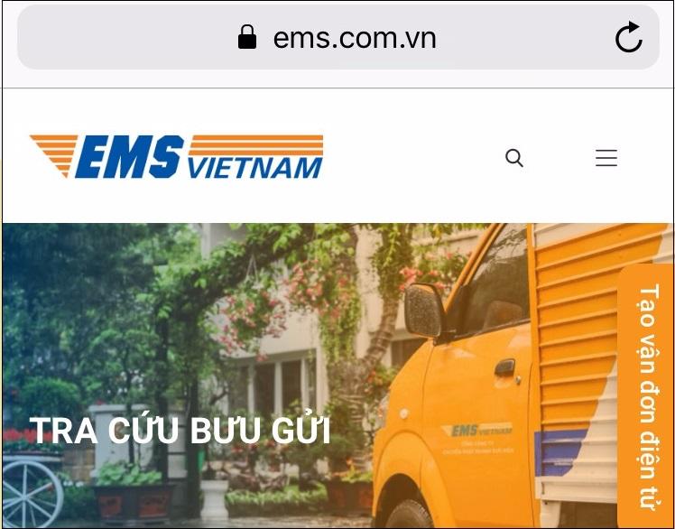 Truy cập website tra cứu vận đơn EMS
