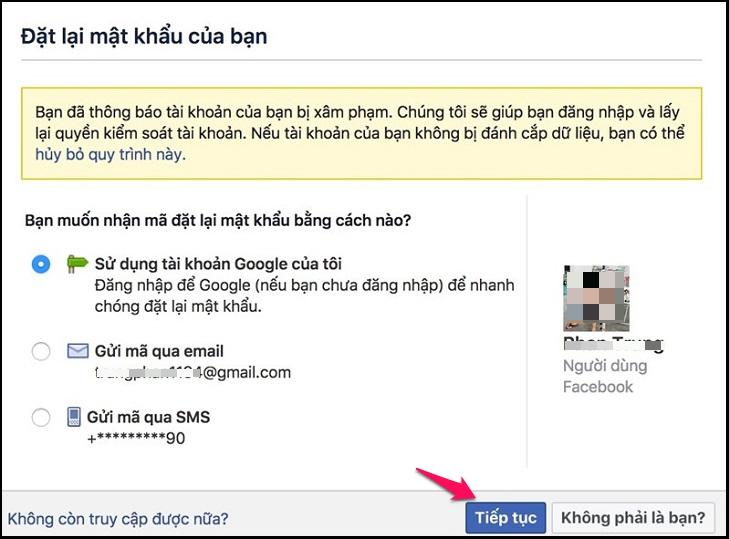 Lấy lại mật khẩu Facebook