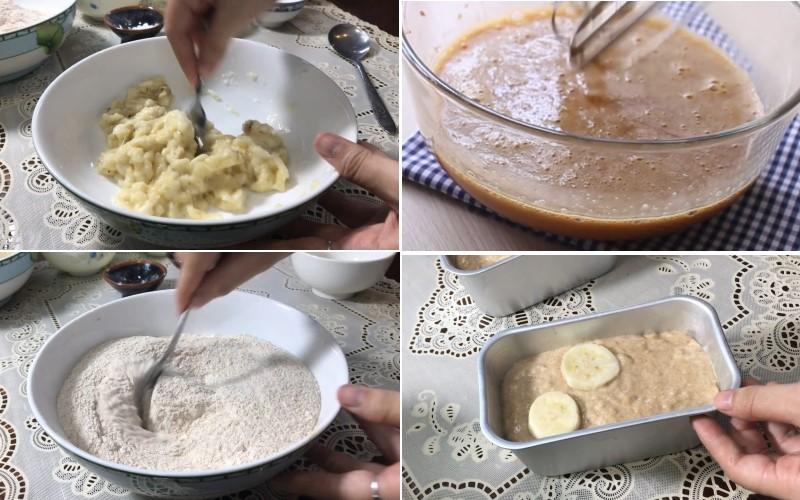 Cách làm bánh mì nguyên cám chuối đường nâu