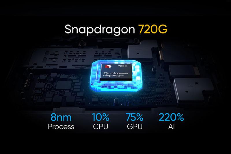 Snapdragon 720G được sản xuất trên tiến trình 8 nm, có 8 nhân được sắp xếp theo định dạng 2 + 6. (Nguồn: Qualcomm).