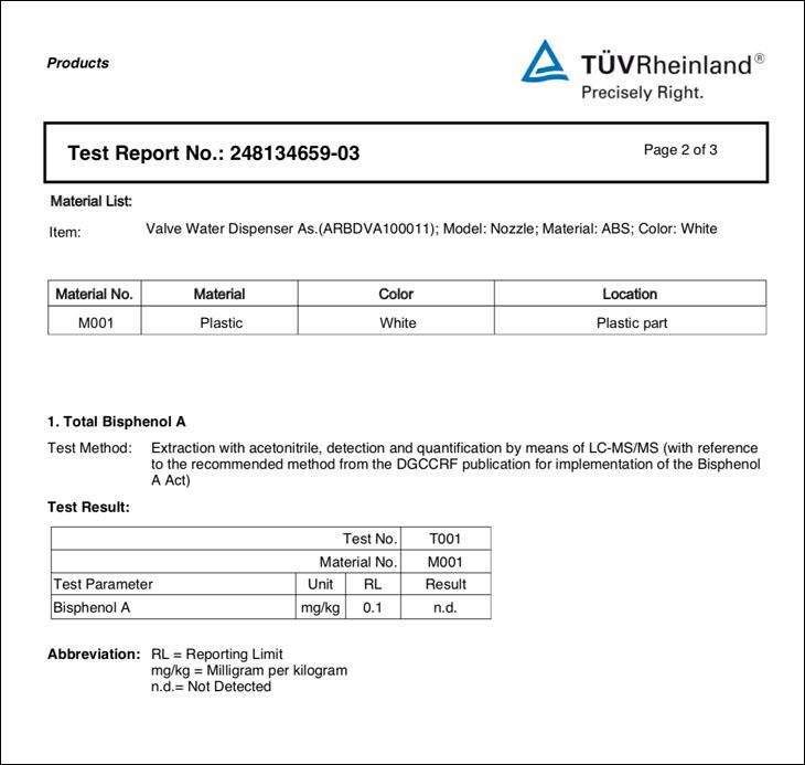 Chứng nhận từ TUV Rheinland