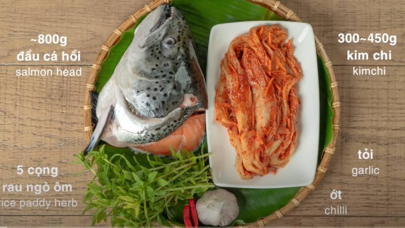 Nguyên liệu làm món canh kim chi đầu cá hồi