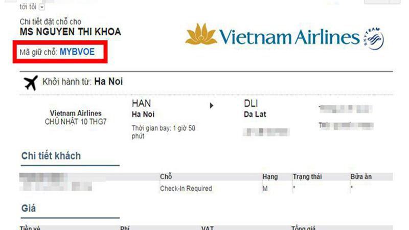 Code đặt chỗ Vietnam Airlines có 6 ký tự