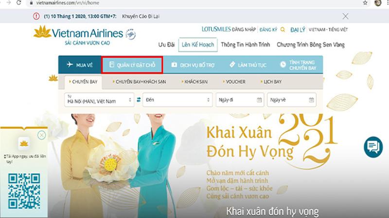 Cách kiểm tra mã code tại website hãng Vietnam Airlines
