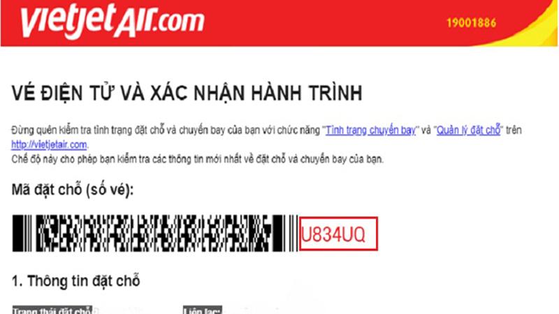 hãng Vietjet thì mã code máy bay có 6 ký tự cả chữ và số được viết hoa
