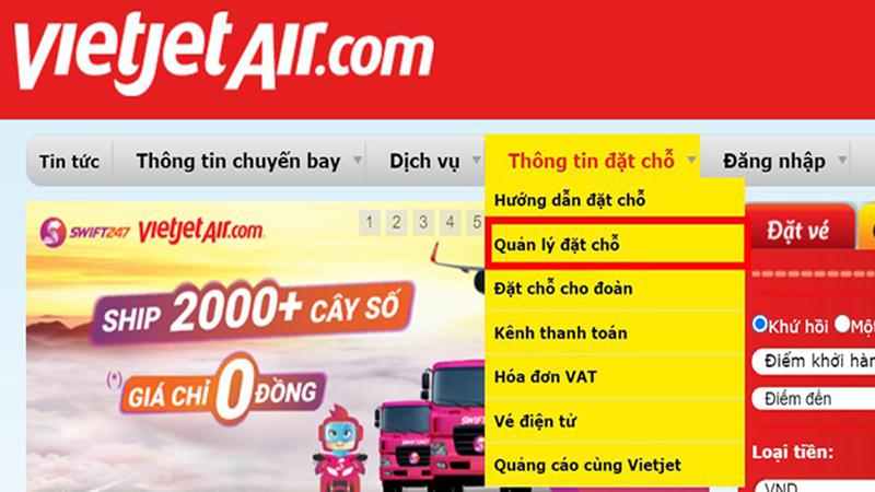 Cách kiểm tra mã code tại website Vietjet Air