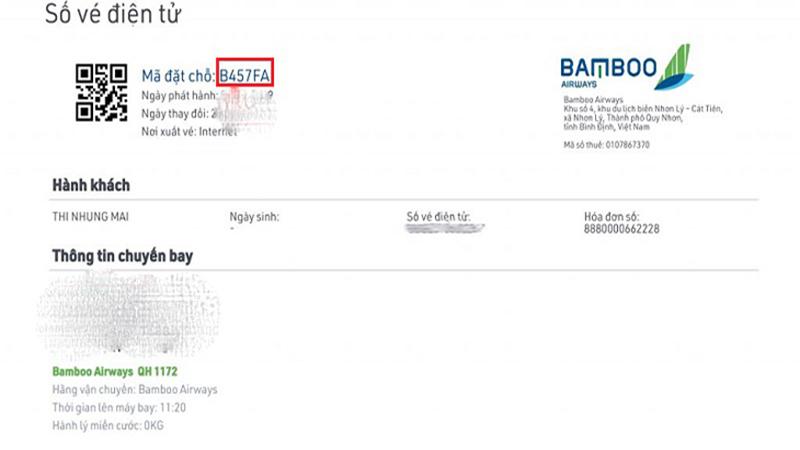 Bamboo Airways có mã gồm 6 ký tự cả chữ và số