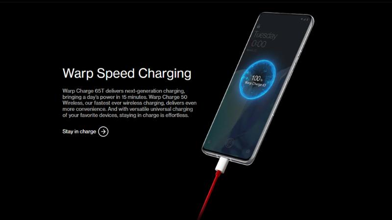 Công nghệ sạc nhanh có dây Warp Charge 65WT trên chiếc OnePlus 9 Pro.