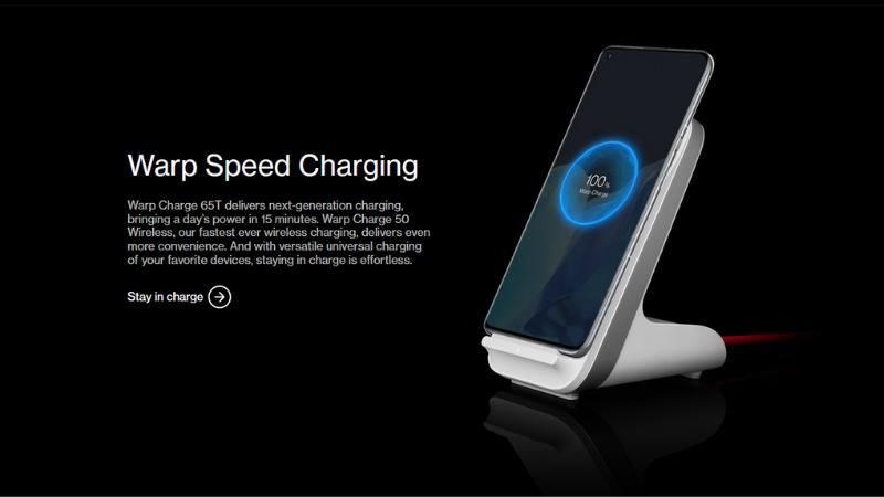 Công nghệ sạc nhanh không dây Warp Charge 50W trên chiếc OnePlus 9 Pro.