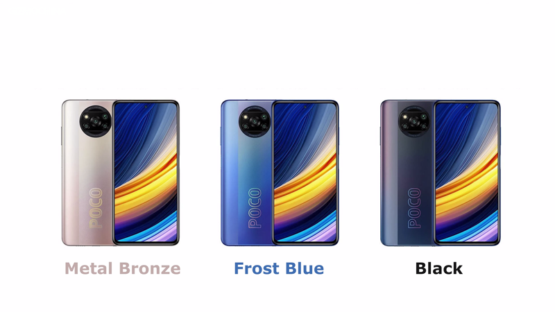 POCO X3 Pro được ra mắt với 3 phiên bản màu là Metal Bronze, Frost Blue và Black