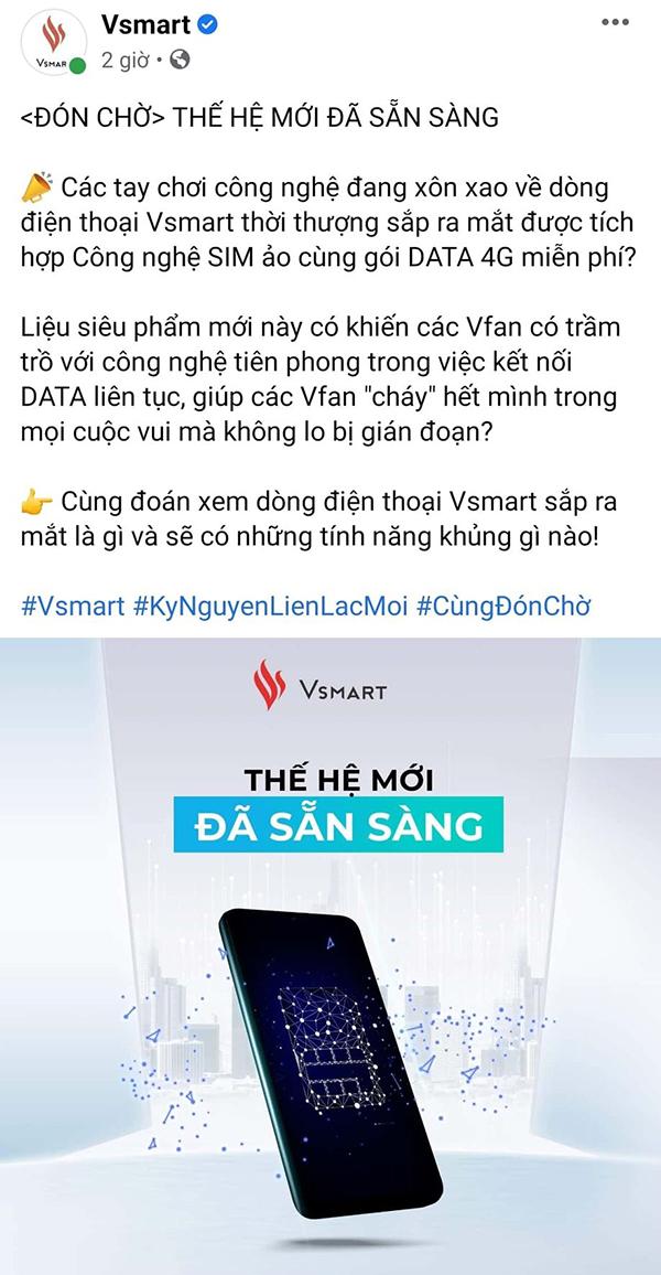 Bài đăng của Vsmart trên Facebook