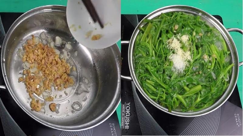 Nấu canh rau muống tôm khô