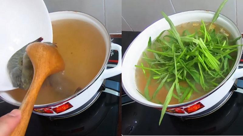 Nấu canh rau muống cùng tôm chua