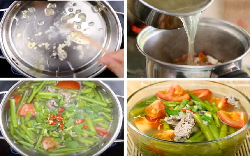 Nấu canh rau muống với thịt