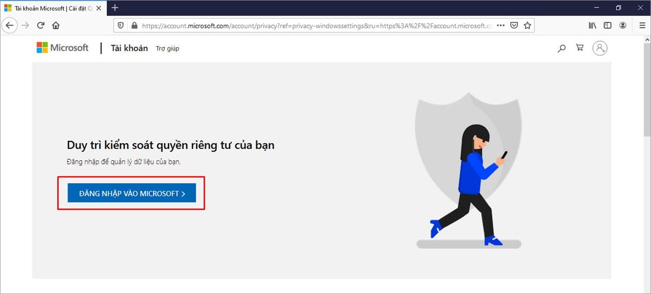 Đăng nhập vào tài khoản Microsoft