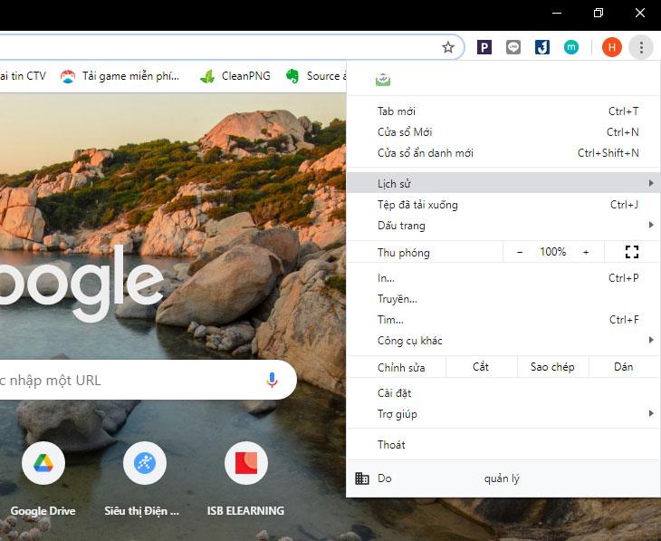 Tại mục Tuỳ chỉnh và điều khiển Google Chrome, chọn Lịch sử