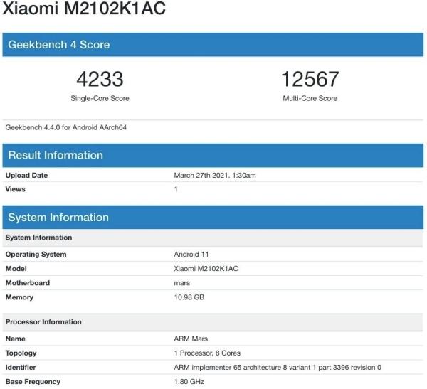 Xiaomi Mi 11 Pro dùng chip Snapdragon 888 lộ thông số kỹ thuật trên Geekbench