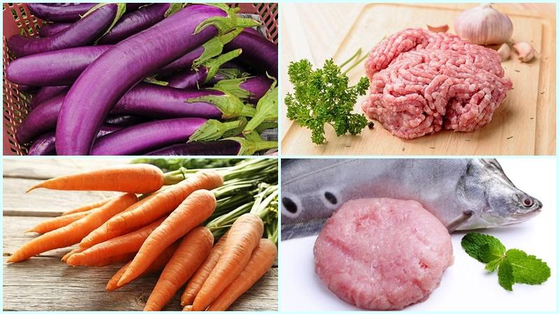 Nguyên liệu làm món cà tím nhồi thịt hấp