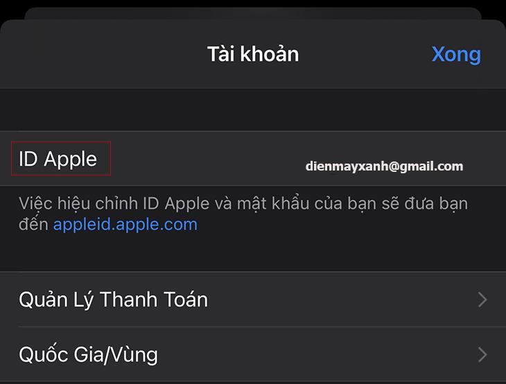 Chọn mục Apple ID