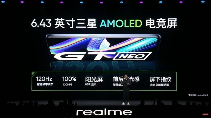 Realme GT NEO được trang bị màn hình kích thước 6.53 inch