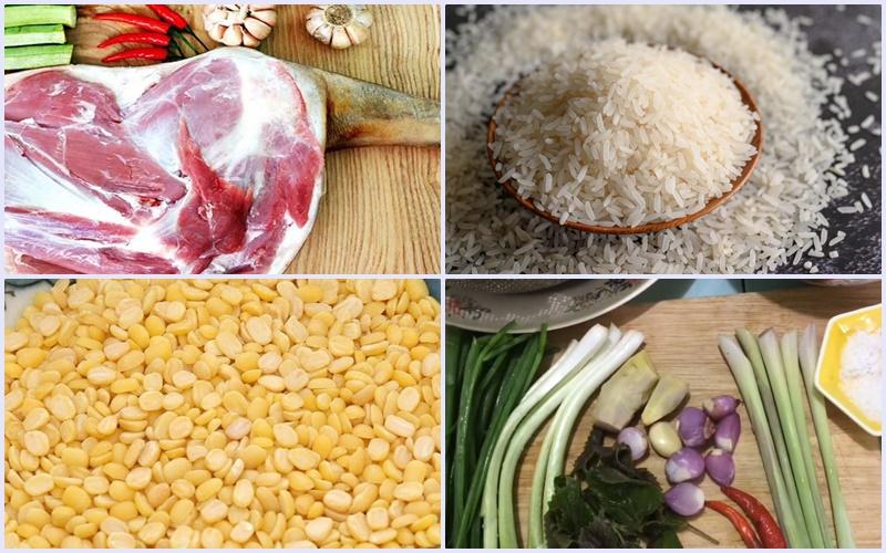 Nguyên liệu làm món cháo dê đậu xanh