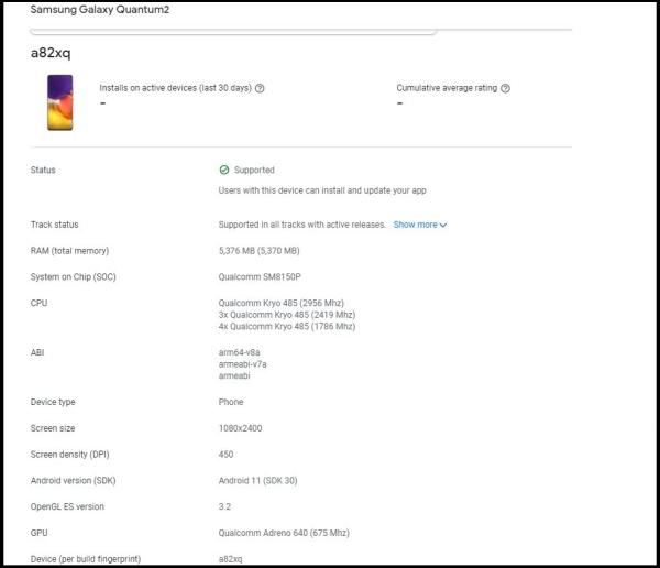 Samsung Galaxy A82 xuất hiện trên Google Play Console