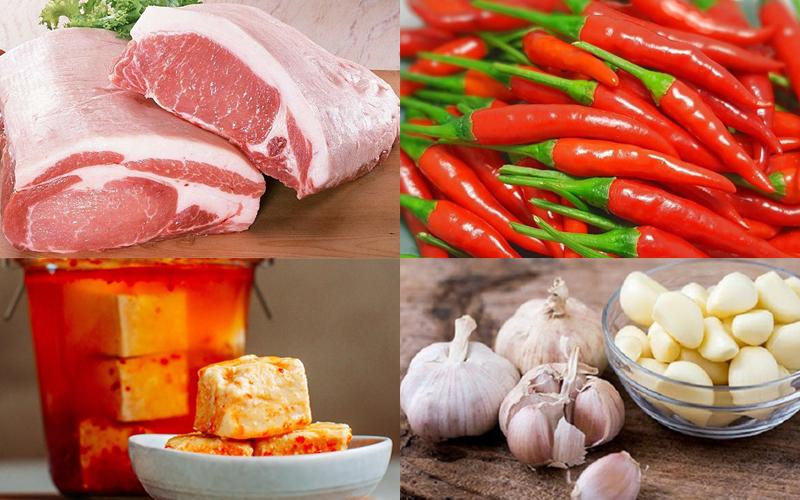 Nguyên liệu làm món thịt heo chiên chao