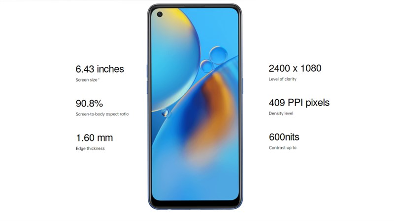 Just a little bit about the visibility, the A74 4G will be equipped with an AMOLED panel, combined with DCI-P3 display technology, 100% sRGB for brilliant color display, high contrast 1,000,000: 1, deep black suitable for watching movies and playing games and saving battery life.  Combined with Full HD + resolution, the pixel density reaches 409 PPI for details that are reproduced extremely sharp and flattering.