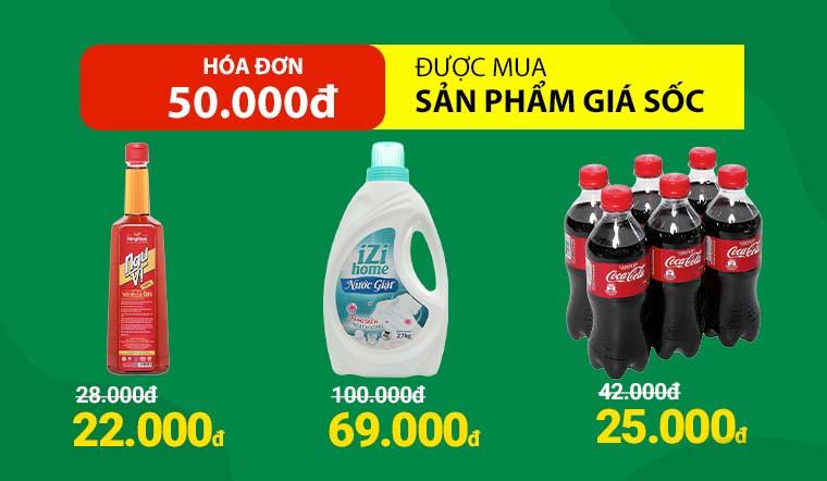 Từ 9/4 đến 11/4, Mua hóa đơn 50.000đ được mua sản phẩm giá sốc
