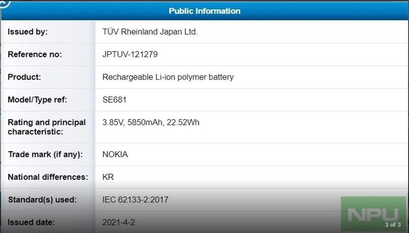 It is revealed that the Nokia X30 will come with a 5,850 mAh battery and 22.52 W fast charging.