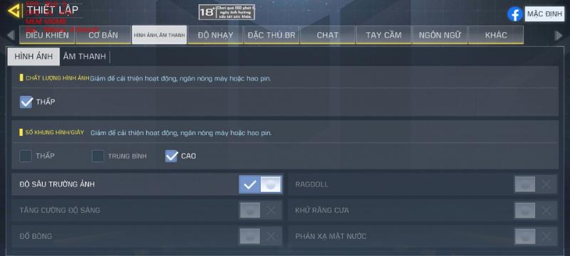 Các mức thiết lập đồ họa trong game Call of Duty Mobile mà OPPO A54 có thể thiết lập được.