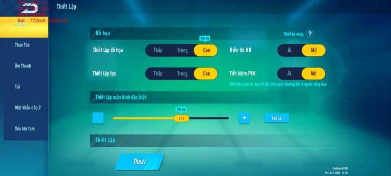 Các mức thiết lập đồ họa trong game Zing Speed Mobile mà OPPO A54 có thể thiết lập được.