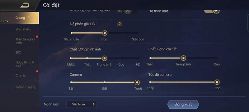 settings configuring Lien Quan Mobile