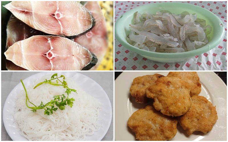Nguyên liệu làm món bún sứa chả cá