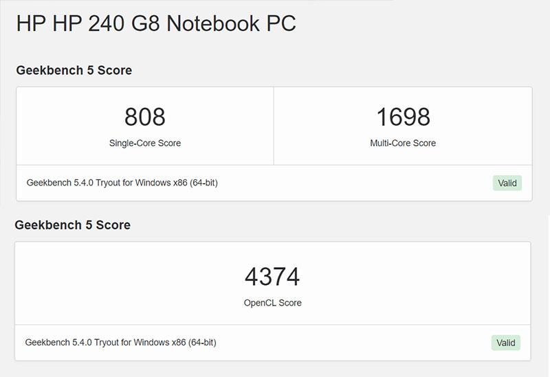 Đo CPU và hiệu năng của HP 240 G8 qua Geekbench 5